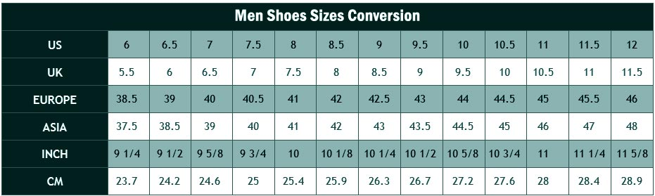 Men Shoe Sizes Conversion