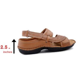 Height Increase Tan Elevator Sandals
