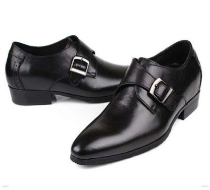 Black Elevator Buckle Shoes